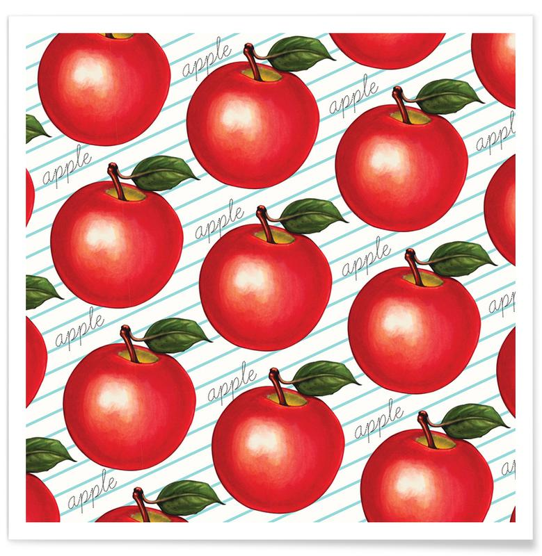 Pommes, Lunch Patterns Apple Ruled affiche