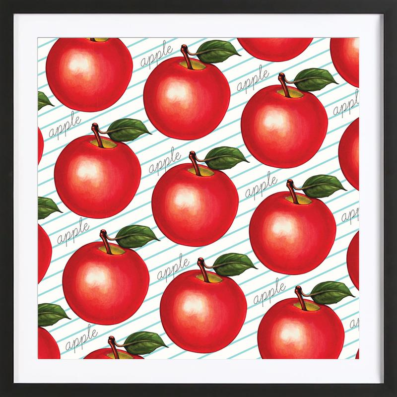 Lunch Patterns Apple Ruled Framed Print
