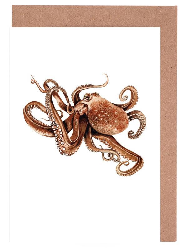 Octopus -Grußkarten-Set