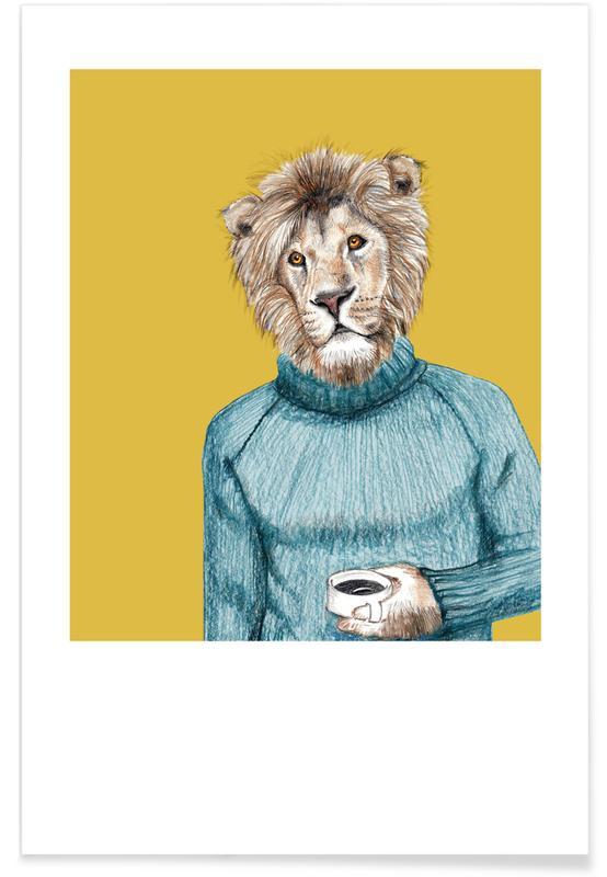 Art pour enfants, Lions, Hipsterlöwe affiche