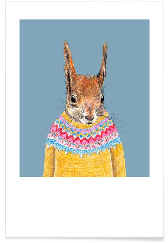 Hörnchen im Islandpullover Poster
