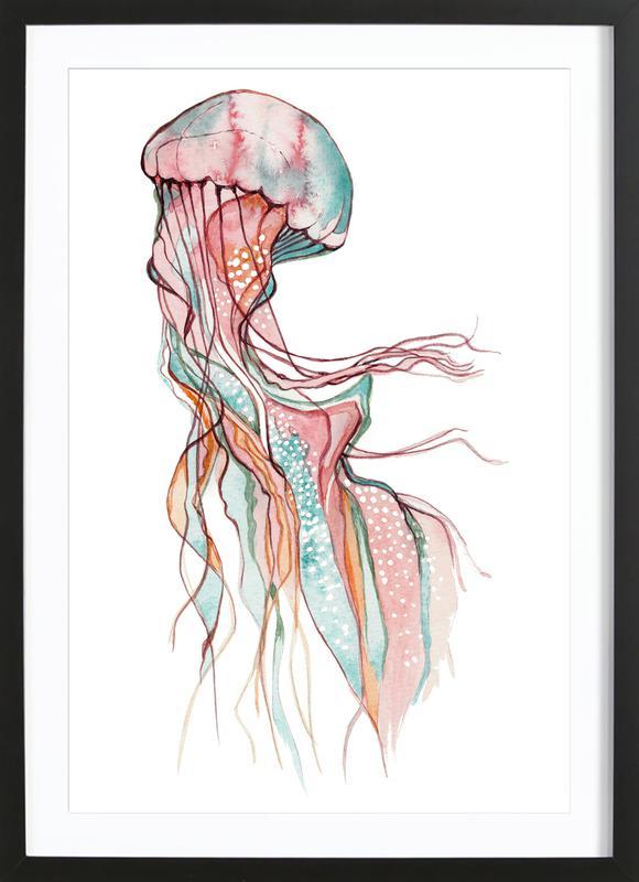 Jellyfish -Bild mit Holzrahmen