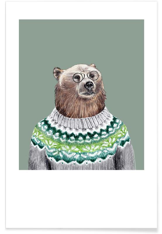 Ours, Art pour enfants, Bär im Islandpullover affiche
