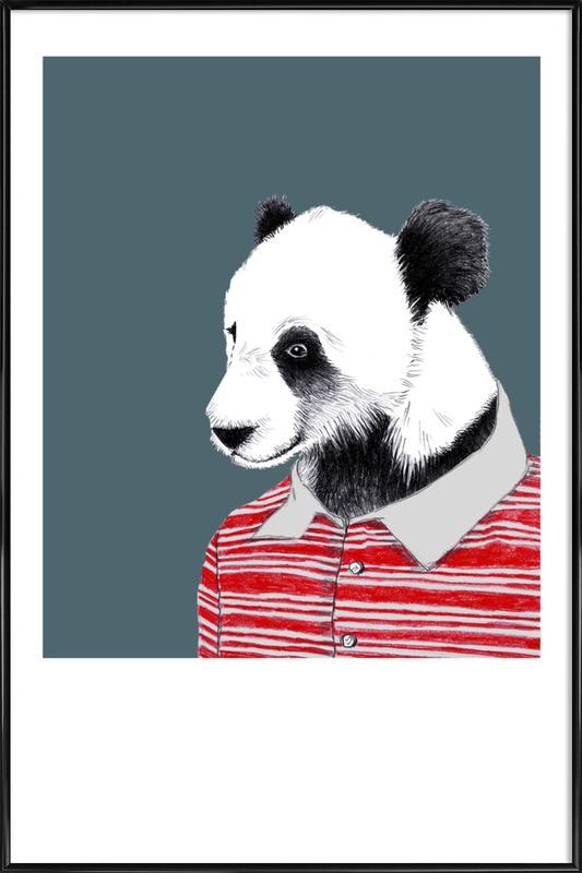 Panda im Polohemd -Bild mit Kunststoffrahmen