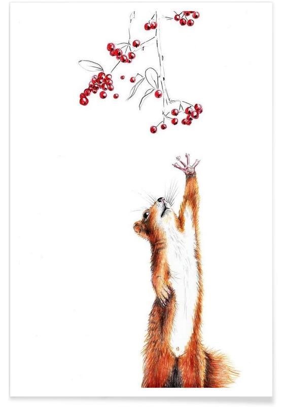 Art pour enfants, Ecureuils, Squirrel affiche