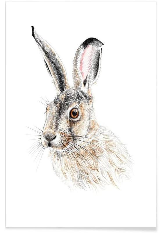Art pour enfants, Lapins, Rabbit affiche
