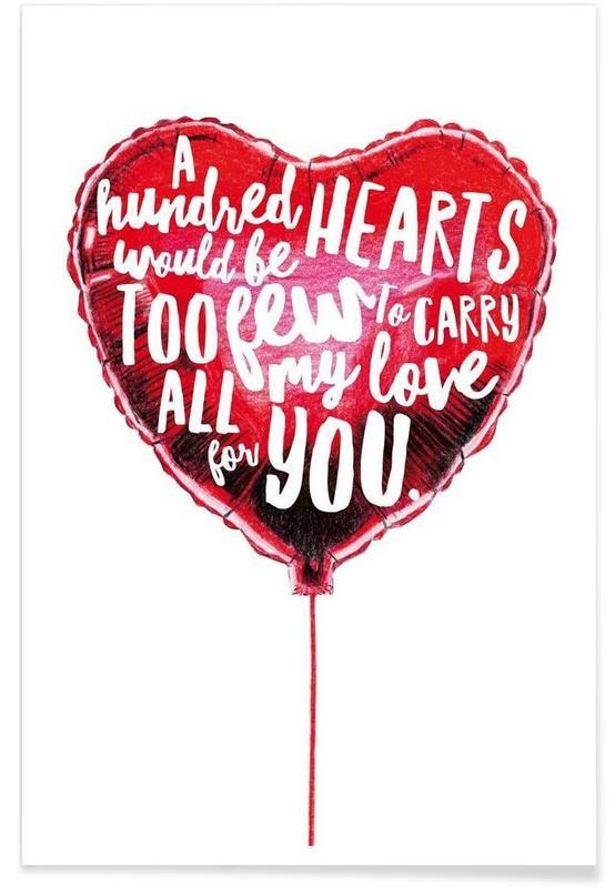 Harten, Liefdescitaten, Valentijnsdag, Heart Balloon poster