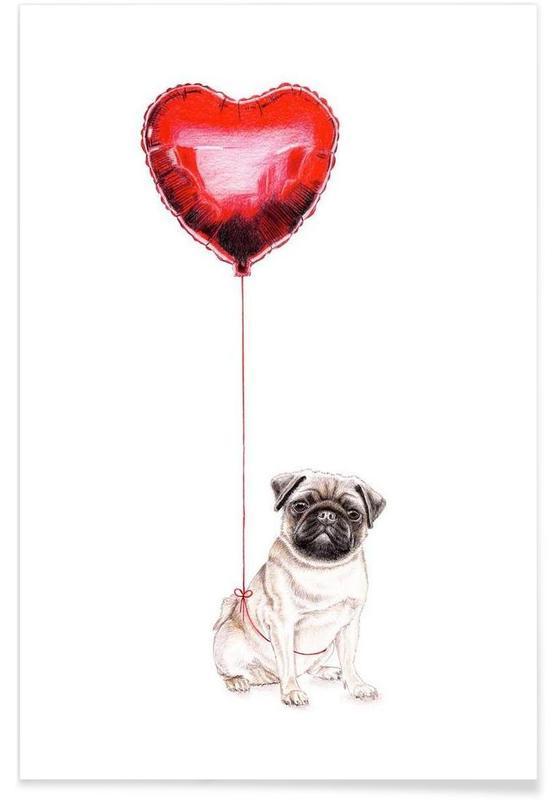 Chiens, Cœurs, Saint-Valentin, Pug & Balloon affiche