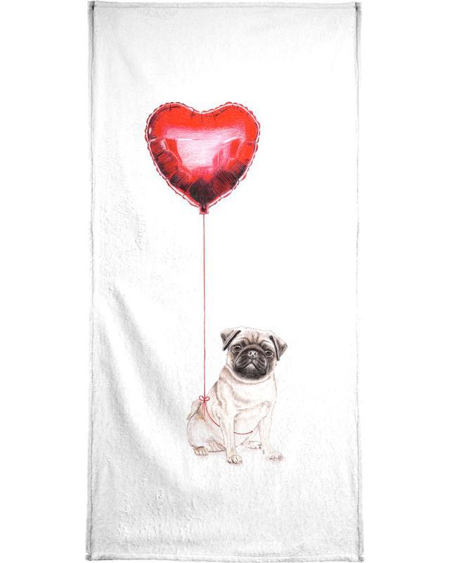 Pug & Balloon Bath Towel