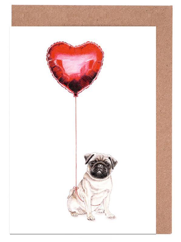 Pug & Balloon Greeting Card Set