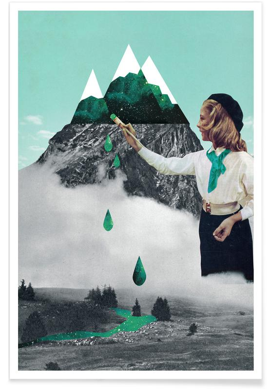 Retro, Painting On Mountain Poster