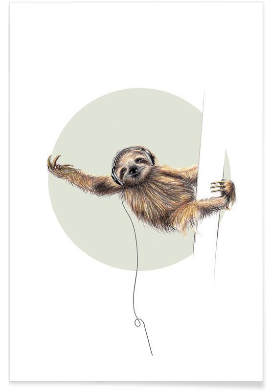 Art pour enfants, Paresseux, Sloth affiche