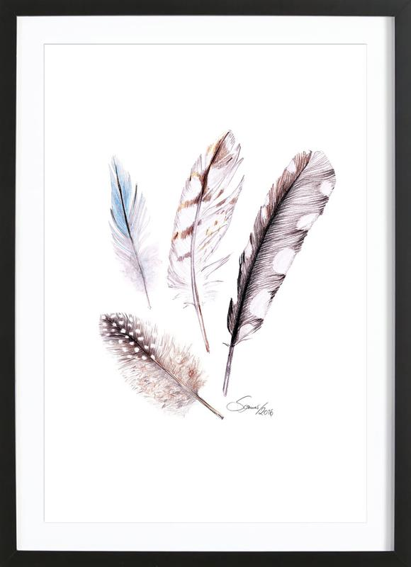 Feather -Bild mit Holzrahmen