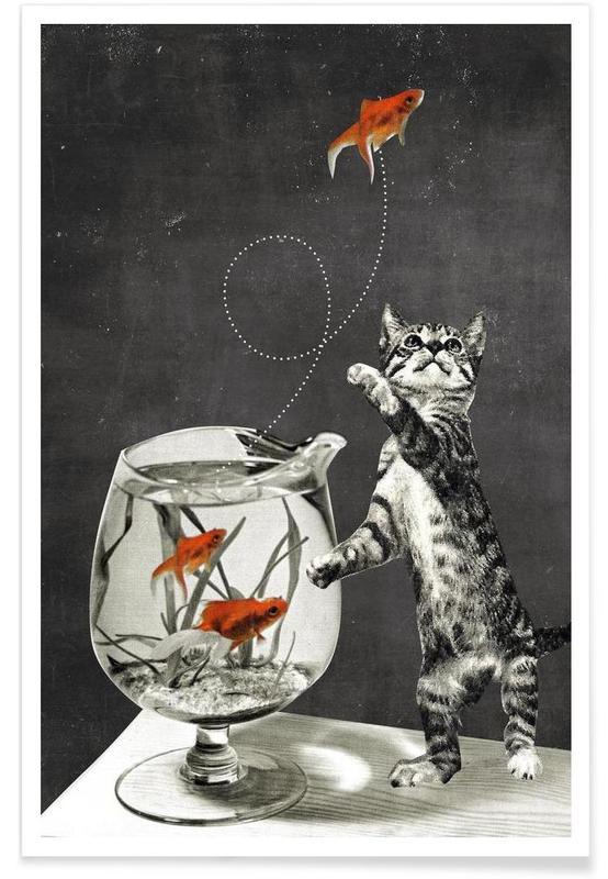 Chats, Art pour enfants, Fishbowl affiche