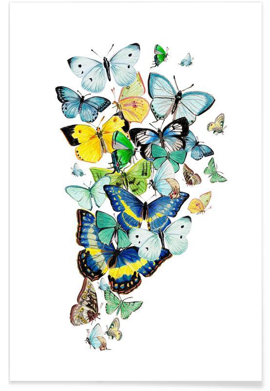 Papillons, Schmetterlinge Blaugrün affiche