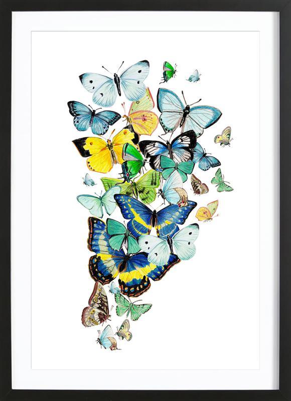 Schmetterlinge Blaugrün Framed Print