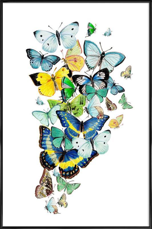 Schmetterlinge Blaugrün Framed Poster