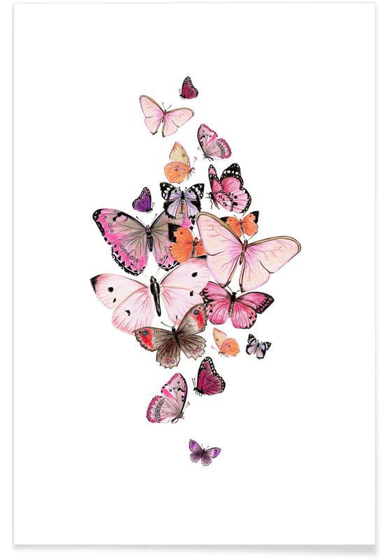 Schmetterlinge Rosarot poster