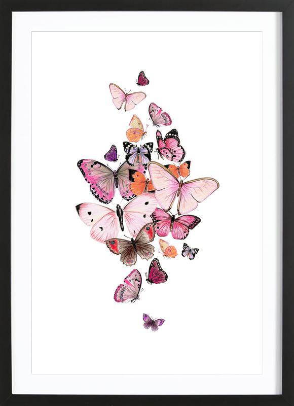 Schmetterlinge Rosarot ingelijste print