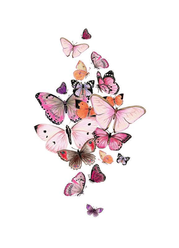 Schmetterlinge Rosarot canvas doek