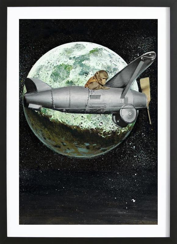 Space Monkey ingelijste print