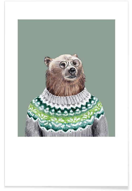 Ours, Art pour enfants, Bär im Pullover affiche