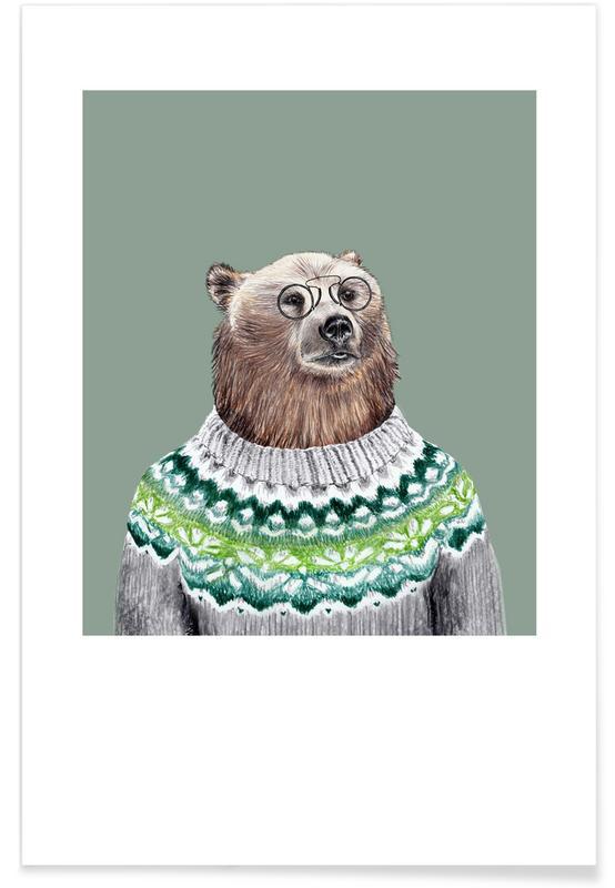 Bears, Nursery & Art for Kids, Bär im Pullover Poster