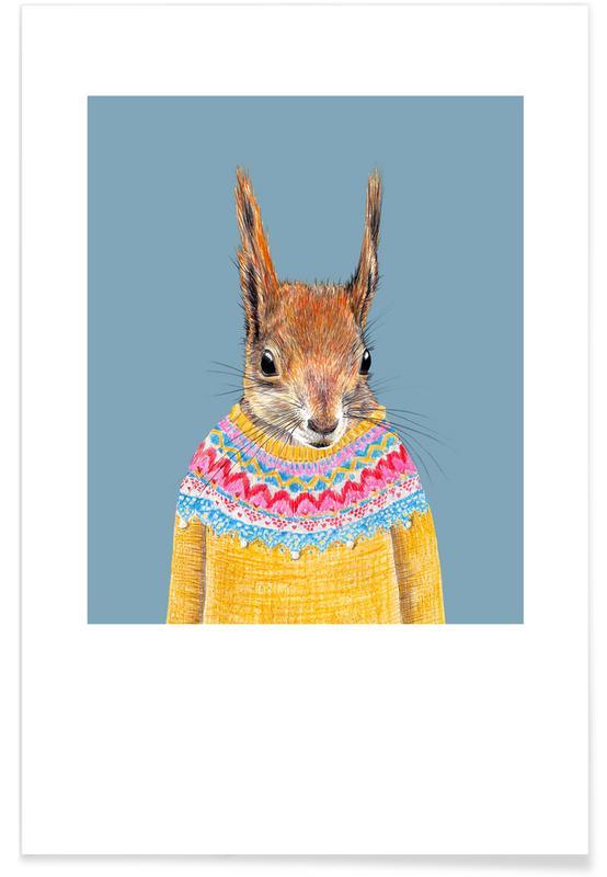 Art pour enfants, Ecureuils, Hörnchen im Pullover affiche