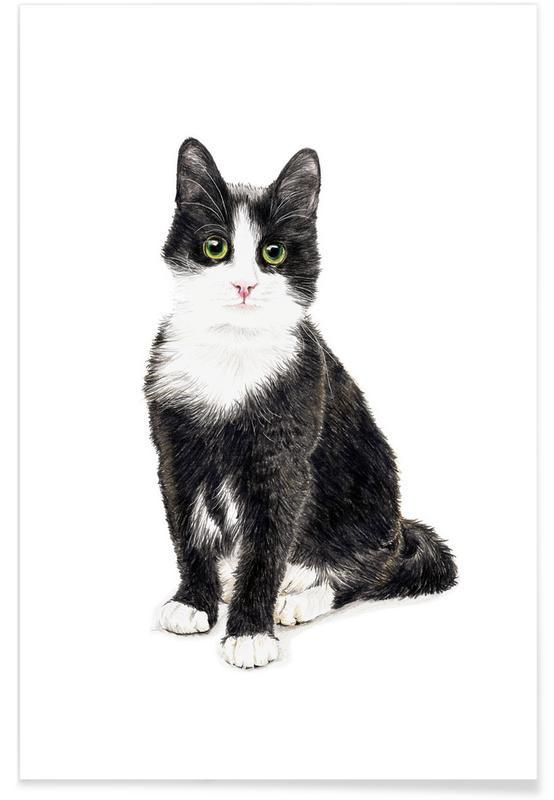 Noir & blanc, Art pour enfants, Katze Murmelauge affiche