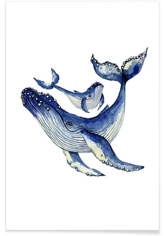 Art pour enfants, Baleines, Buckelwale affiche
