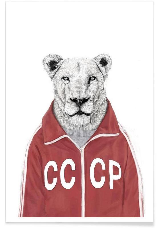 Lions, Lion soviétique - Dessin affiche