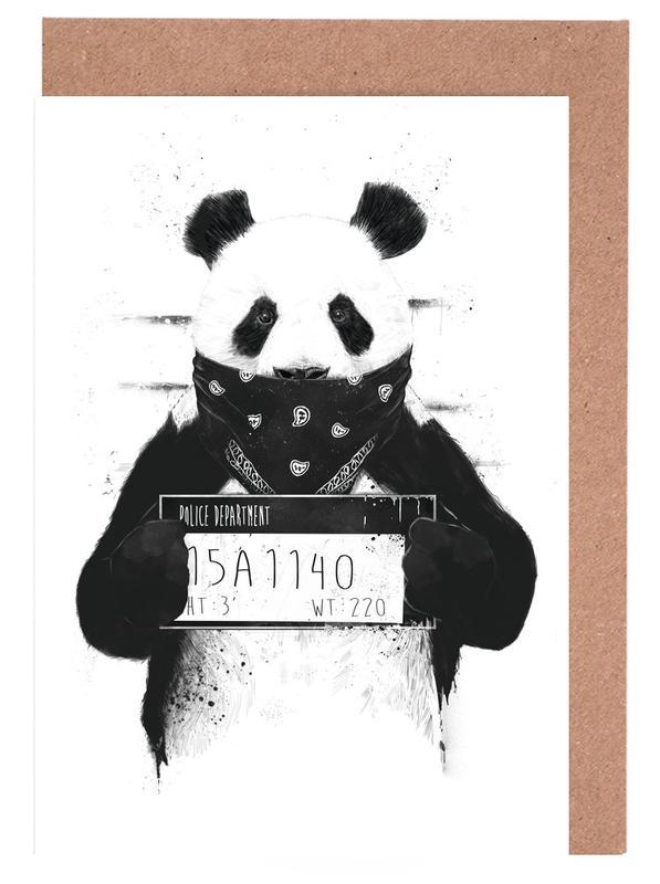 Lustig, Schwarz & Weiß, Pandas, Bad Panda -Grußkarten-Set