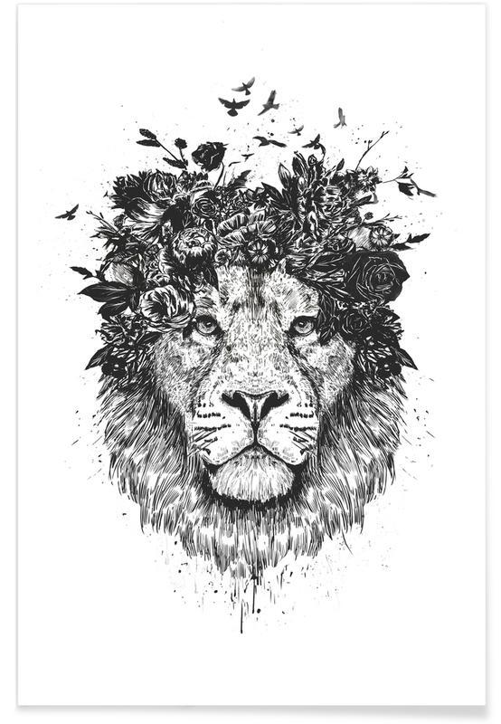 Lions, Noir & blanc, Floral Lion affiche