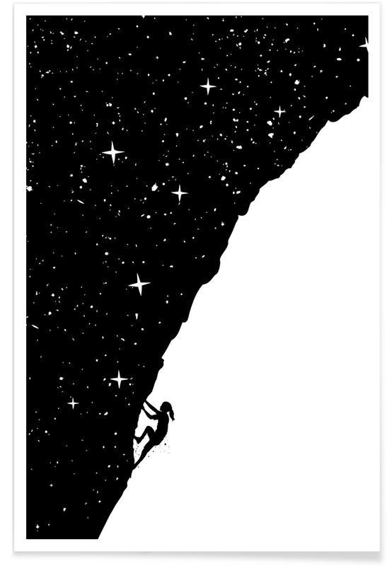 Humour, Noir & blanc, Night climbing affiche