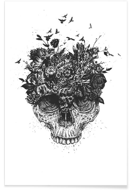 Skulls, Black & White, My Head Is A Jungle Poster