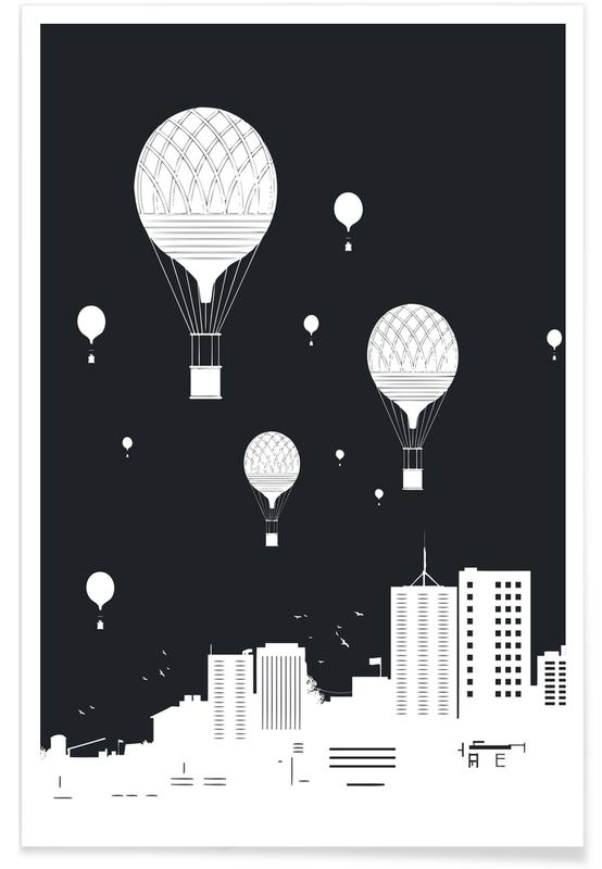 Black & White, Skyscrapers & High-Rises, Balloons And The City Dark Poster