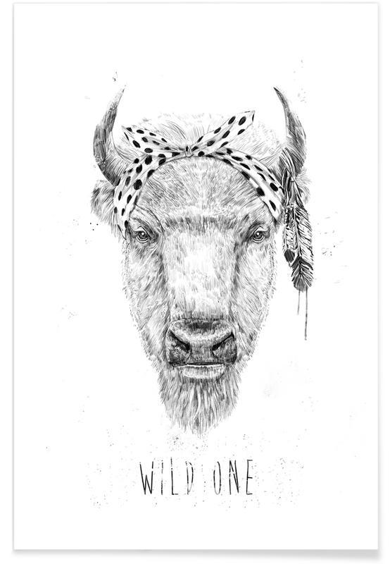 Vaches, Noir & blanc, Wild One affiche