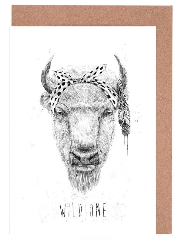Kühe, Schwarz & Weiß, Wild One -Grußkarten-Set