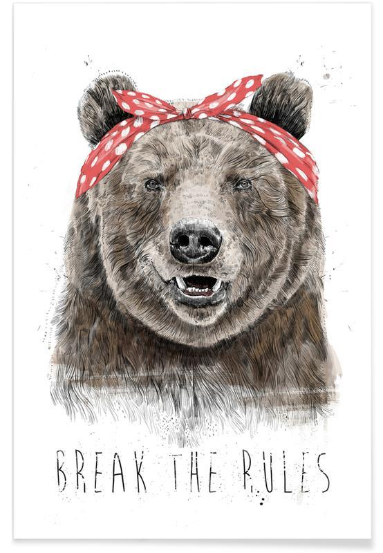 Funny, Bears, Break The Rules Poster