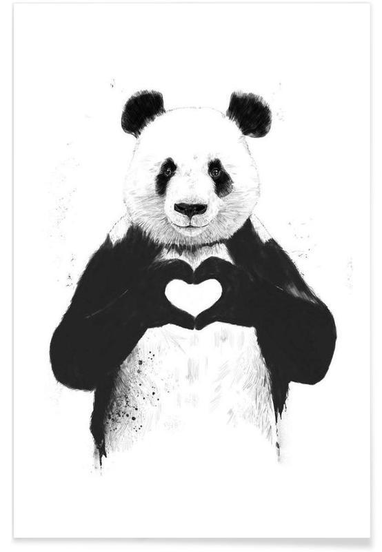 Hjerter, Sort & hvidt, Årsdag & kærlighed, Pandaer, All You Need Is Love Plakat