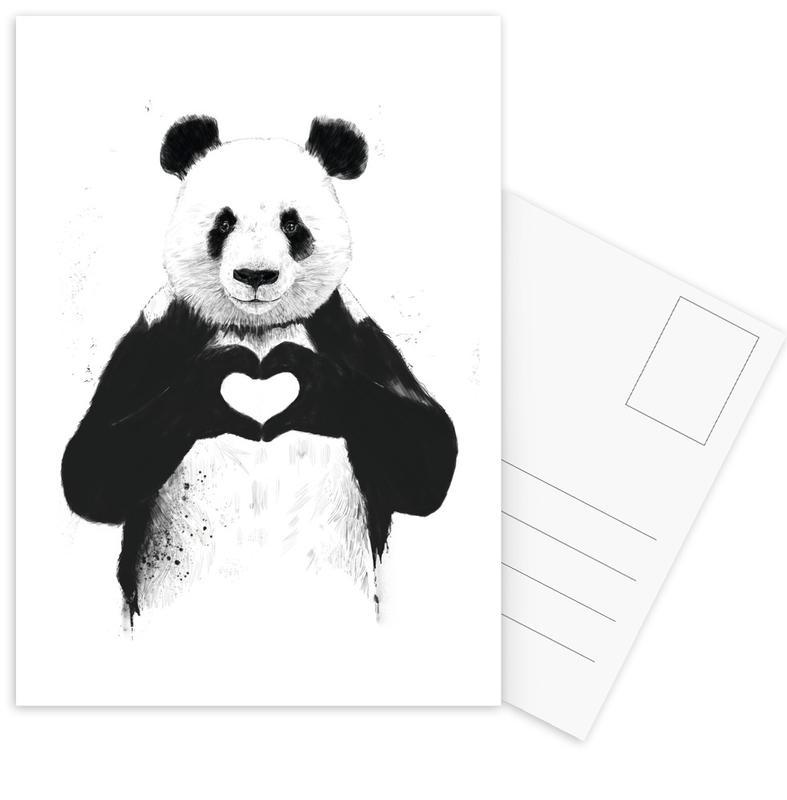 Zwart en wit, Jubileums en liefde, Panda's, Harten, All You Need Is Love ansichtkaartenset