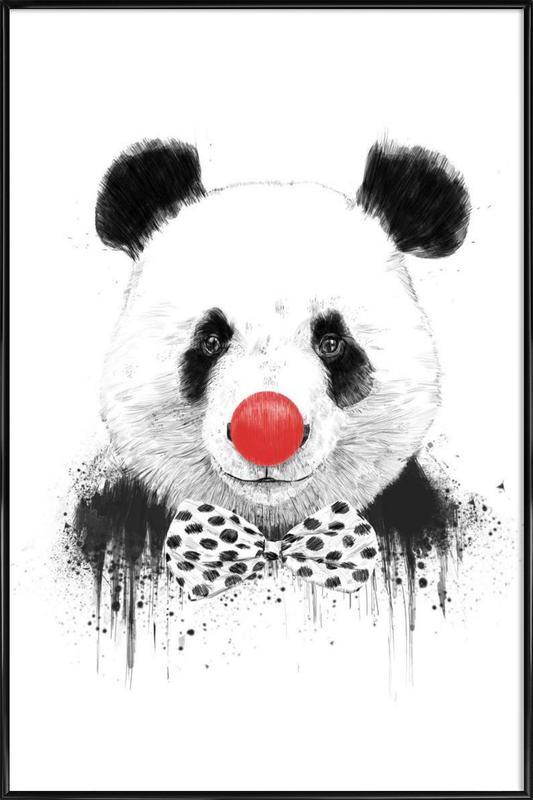 Clown Panda -Bild mit Kunststoffrahmen