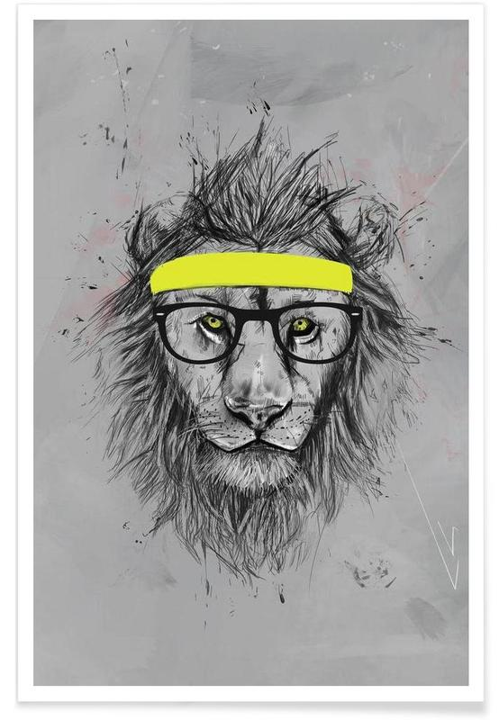 Hipster Lion Drawing Poster