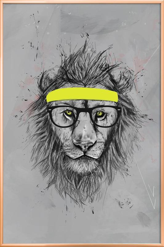 Hipster Lion Poster in Aluminium Frame