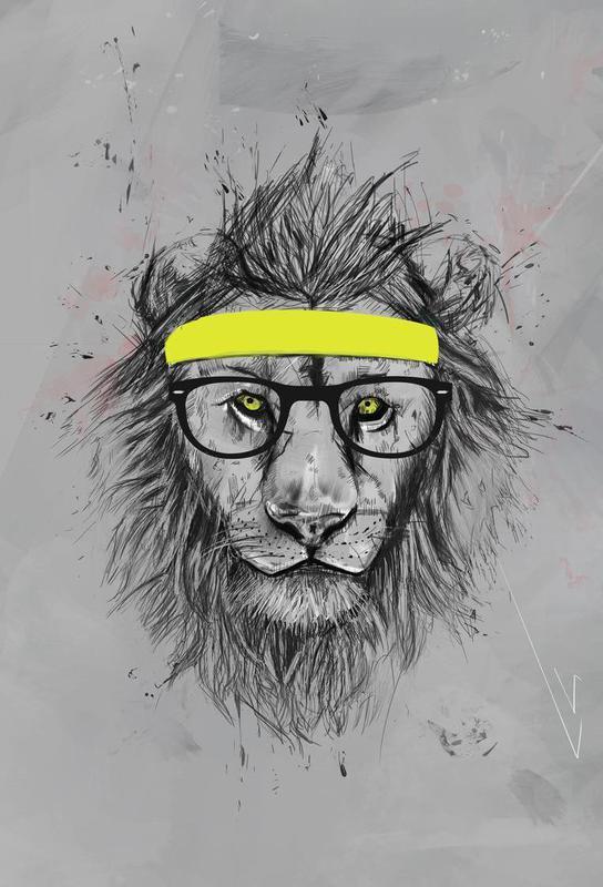 Hipster Lion Aluminium Print