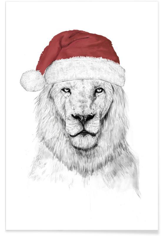 Löwen, Weihnachten, Weihnachtsmann-Löwe-Zeichnung -Poster