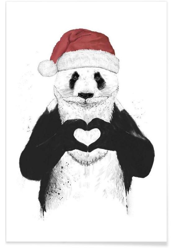 Christmas, Pandas, Santa Panda Drawing Poster