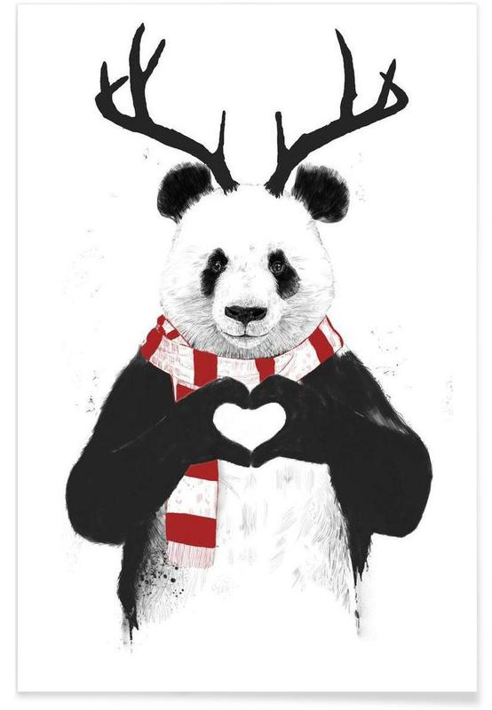 Noël, Pandas, Rudolph Panda - Dessin affiche