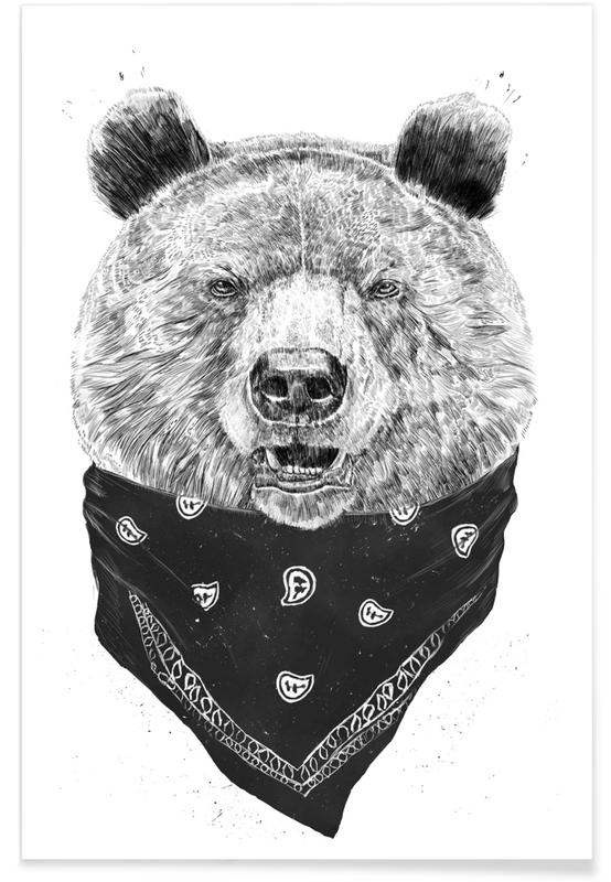Ours, Noir & blanc, Ours sauvage - Dessin affiche