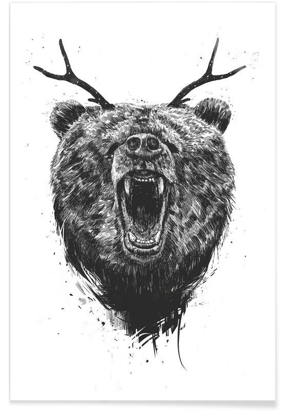 Bären, Schwarz & Weiß, Zorniger Bär-Zeichnung -Poster